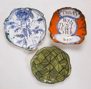 Ceramic-plates-by-Ruan-Hoffmann-and-perspex-brackets-R5107-each-Tonic