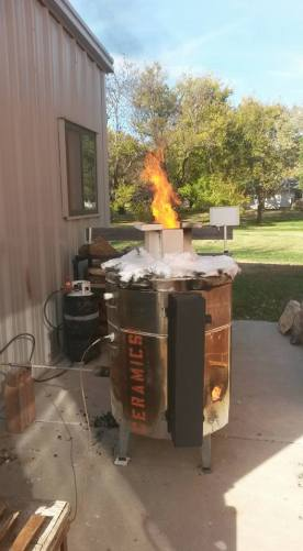 Reduction- constant feeding of wood, gas at about 1.5lb.